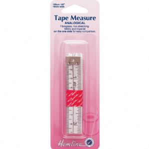 "Tape Measure: Analogical Metric/Imperial - 150cm / 3"" Plastic Clear End"